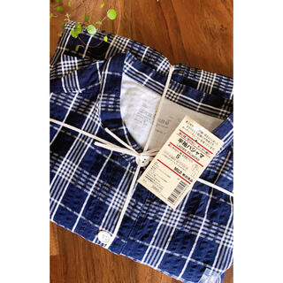 MUJI (無印良品) - 無印良品  サッカー生地半袖パジャマ  Sサイズネイビーチェック  新品未使用