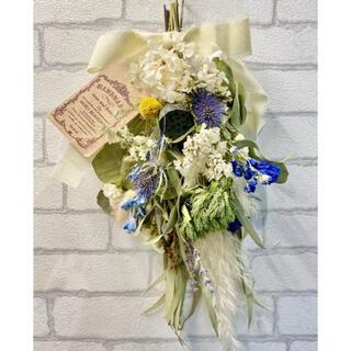 ドライフラワー スワッグ❁¨̮ブルー青 白 デルフィニウム 紫陽花アジサイ 花束(ドライフラワー)