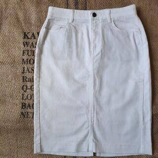 ユニクロ(UNIQLO)の美品 UNIQLO ホワイトデニム ストレッチ タイトスカート W64(ひざ丈スカート)