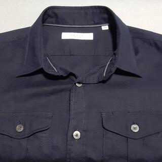 エディフィス(EDIFICE)のダブルポケット 七分袖シャツ size S NAVY エデフィス(シャツ)