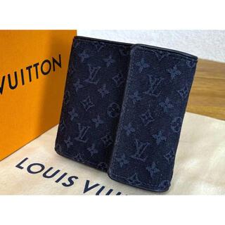 LOUIS VUITTON - VUITTON モノグラムミニ 財布 紺 ネイビー 三つ折 デニム