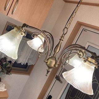 シャンデリア ブロンズ ガラスシェード アンティークランプ(天井照明)