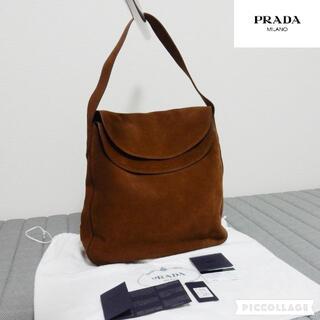 プラダ(PRADA)の美品・希少 プラダ:PRADA スエード ハンドバッグ ブラウン系(ショルダーバッグ)