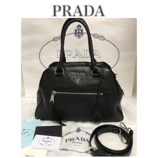 プラダ(PRADA)の❤︎お値下げ可【美品】PRADA レザー 2way ハンドバッグ ボストンバッグ(ショルダーバッグ)