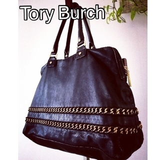 トリーバーチ(Tory Burch)の【ToryBurch】トリーバーチ  ブラック ショルダーバッグ レザー  ロゴ(ショルダーバッグ)
