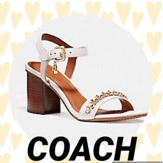 COACH - COACH 【コーチ】 チェーン ミッド ヒール サンダルチャーム付き 美品