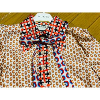 Gucci - ●GUCCIグッチ青×オレンジ水玉柄シルクリボンブラウス36新品