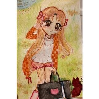 いいね歓迎♡ 創作オリジナルイラスト 【猫と少女】(アート/写真)