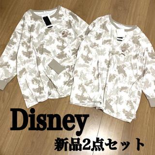 Disney - ディズニー ミッキー 新品 お揃い 刺繍 ビッグシルエット ロンT 総柄