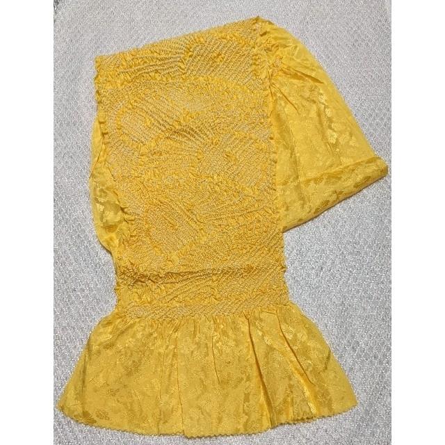 中古 正絹帯あげ 向日葵色 帯揚げ  レディースの水着/浴衣(和装小物)の商品写真