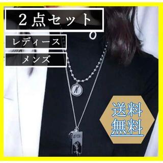 【新品】 韓国 ボールチェーン 2連 ネックレス メンズ レディース シンプル