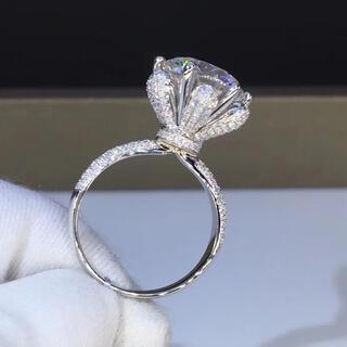 【豪華仕様】輝くモアサナイト  リング K18ホワイトゴールド(リング(指輪))