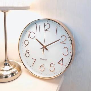 掛け時計 連続秒針 北欧 電池式 モダン ウォールクロック 大数字