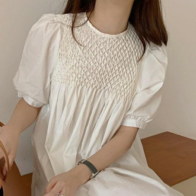 メッシュ編み 切り替え ワンピース   515    レディースのワンピース(ひざ丈ワンピース)の商品写真