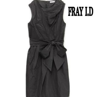フレイアイディー(FRAY I.D)のFRAY I.D 美品 メモリーリボン ワンピース ギンガムチェック(ひざ丈ワンピース)