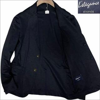 エディフィス(EDIFICE)のJ3127 美品 エディフィス 金ボタン リネン サマージャケット 紺 46(テーラードジャケット)
