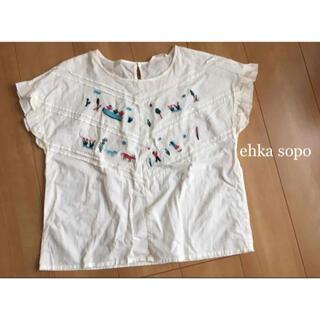 エヘカソポ(ehka sopo)のehka sopo  Tシャツ カットソー ナチュラル 半袖 刺繍 夏 Mサイズ(Tシャツ(半袖/袖なし))