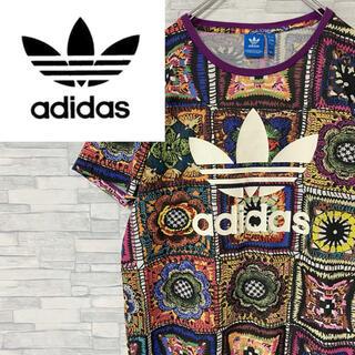 adidas - 【激レア美品】アディダスオリジナルス 半袖シャツ デカロゴ 総柄 マルチカラーM