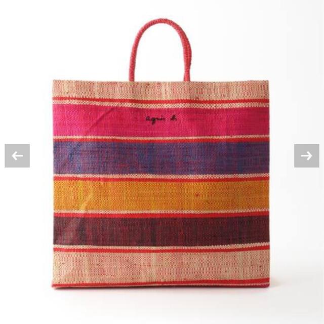 agnes b.(アニエスベー)のアニエスベー ラフィアトートバッグ ピンク レディースのバッグ(かごバッグ/ストローバッグ)の商品写真