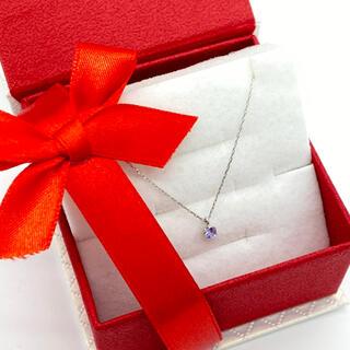 9月サファイア3ミリ幅。ギフトボックスに入れて発送。誕生石プラチナネックレス(ネックレス)