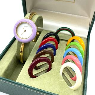 Gucci - 極良品☆ GUCCI Mサイズ チェンジベゼル 新品電池 レディース腕時計