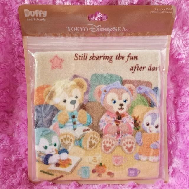 Disney(ディズニー)のダッフィー オータムスリープオーバー ウォッシュタオル♡ エンタメ/ホビーのおもちゃ/ぬいぐるみ(キャラクターグッズ)の商品写真