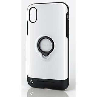 エレコム(ELECOM)のiPhoneXR ケース 耐衝撃 TOUGHSLIM フィンガーリング ホワイト(iPhoneケース)