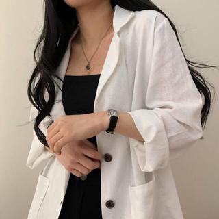 スタイルナンダ(STYLENANDA)の【予約商品】《3カラー》フェミニン リネン ジャケット 韓国ファッション (ノーカラージャケット)