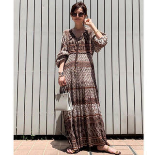 L'Appartement DEUXIEME CLASSE - BLUE BOHEME  Printed Long Dress ブルーボヘム