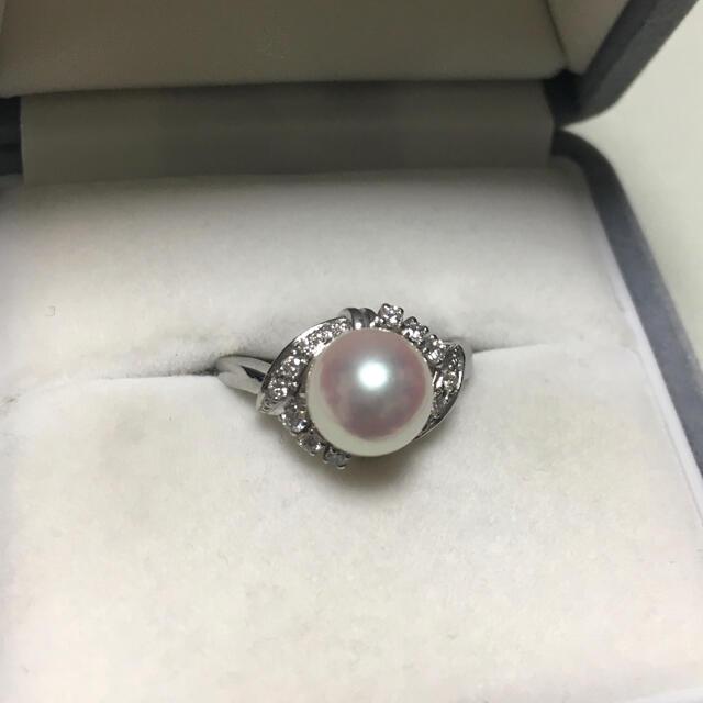 MIKIMOTO(ミキモト)のミキモト 花珠級 ダイヤモンド×パール リング Pt900 9.0mm 6.7g レディースのアクセサリー(リング(指輪))の商品写真