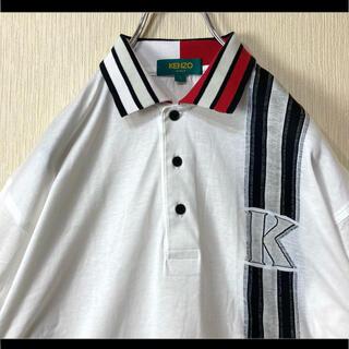 ケンゾー(KENZO)のKENZO ケンゾー ポロシャツ ホワイト 襟可愛い 袖ロゴ刺繍  L 90s(ポロシャツ)