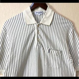 サンローラン(Saint Laurent)のイヴサンローラン ポロシャツ ホワイト×ブラック ストライプ ロゴ刺繍  L(ポロシャツ)