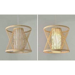未使用ファンネルスタイル 竹製シャンデリア 手編みランプ 天然素材製 照明5(天井照明)
