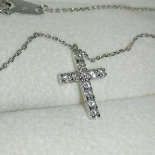 アフリカ ダイヤモンド K18WG クロス ダイヤ0.2ct ネックレス 十字架