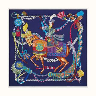 エルメス(Hermes)の【新品未使用】HERMES カレ90 ティンパニ奏者 青、白、赤、緑(バンダナ/スカーフ)