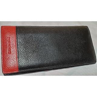 ディオールオム(DIOR HOMME)の正規 ディオールオム ロゴ グラマラスWカラー 長財布 黒 赤 レザーウォレット(長財布)
