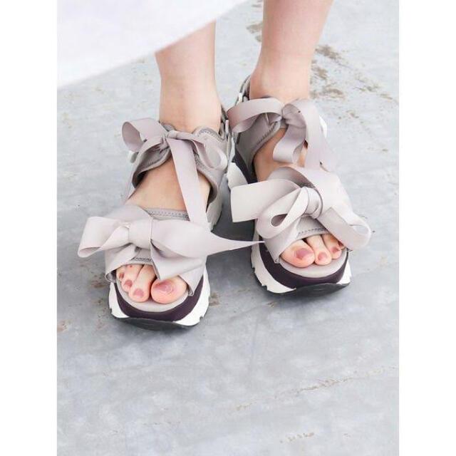 merry jenny(メリージェニー)のリボンスニーカーサンダル ラベンダー レディースの靴/シューズ(スニーカー)の商品写真