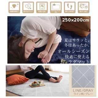 ライン柄/グレー/Lサイズ/250×200cm/ラグ/カーペット/絨毯■(ラグ)