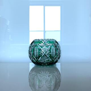 バカラ(Baccarat)の✯極レア オールド Saint-Louis ボールクリスタル エメラルド 花瓶✯(花瓶)