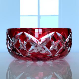 バカラ(Baccarat)の✯ 極レア 深紅 オールド Saint-Louis  赤 Red ルビー 丸鉢✯(テーブル用品)