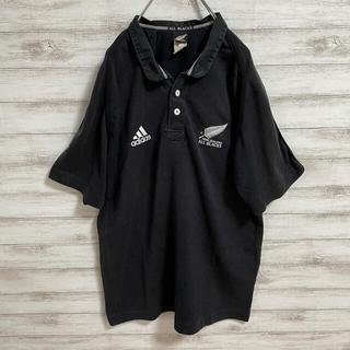 アディダス(adidas)のadidas ALL BLACKS アメリカ古着 刺繍 ポロシャツ ブラック (ポロシャツ)