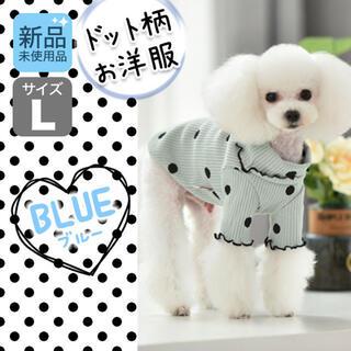 フリル ドット柄 ペット洋服 ブルー L イヌ カワイイ  新品 ドッグウェア(犬)