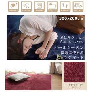 バーガンディ/XLサイズ/300×200cm/ラグ/カーペット/絨毯■(ラグ)