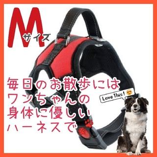 ◇Mサイズ◇ 中型犬 ハーネス 犬用品 レッド 赤 ペット服 簡単着脱 数量限定(犬)