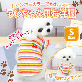 フリフリ 袖  S チェリー ペット服  犬 レインボー ドッグウェア 可愛い (犬)