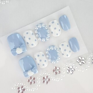 ベリーショートネイルチップ カメリアリボン 水色(つけ爪/ネイルチップ)