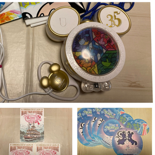 ディズニー(Disney)のディズニーランド35周年ハピエストメモリーメーカー、イヤホン、ポストカード(キャラクターグッズ)