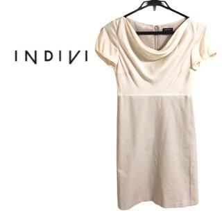 INDIVI - INDIVI インディヴィ  カシュクールパーティドレス ワンピース グレージュ