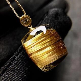 【高級】ゴールド タイチンルチル クォーツ  ペンダントトップ 3.6g(ネックレス)