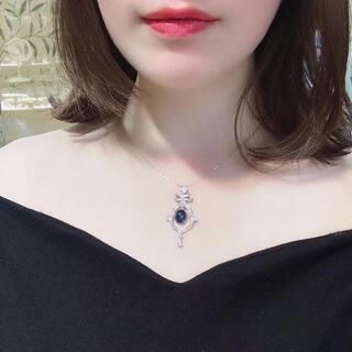 天然 ブルーサファイア ダイヤ ペンダントトップ約 4.67ct k18 ¥(ネックレス)